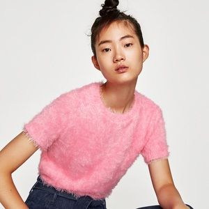 Zara Pink Faux Fur Shortsleeved Top